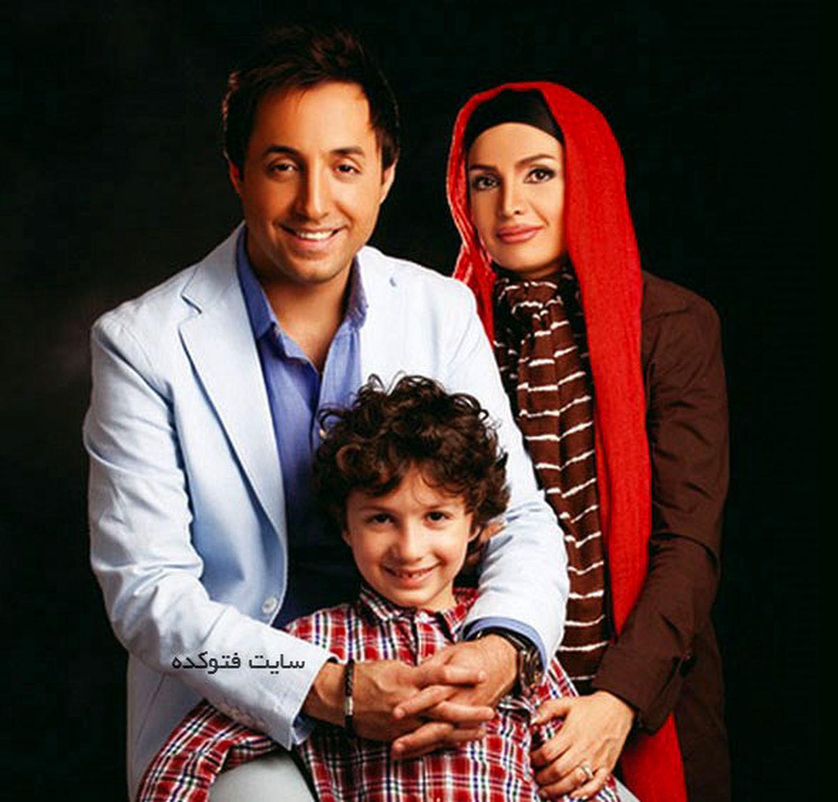 عکس لورفته از ماشین مدل بالای امیرحسین رستمی +تصاویر امیرحسین رستمی و همسر و پسرش