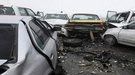 تصادف زنجیره ای 12 خودرو در محور بجنورد به اسفراین