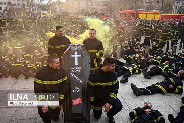 تظاهرات آتشنشانان فرانسوی در استراسبورگ