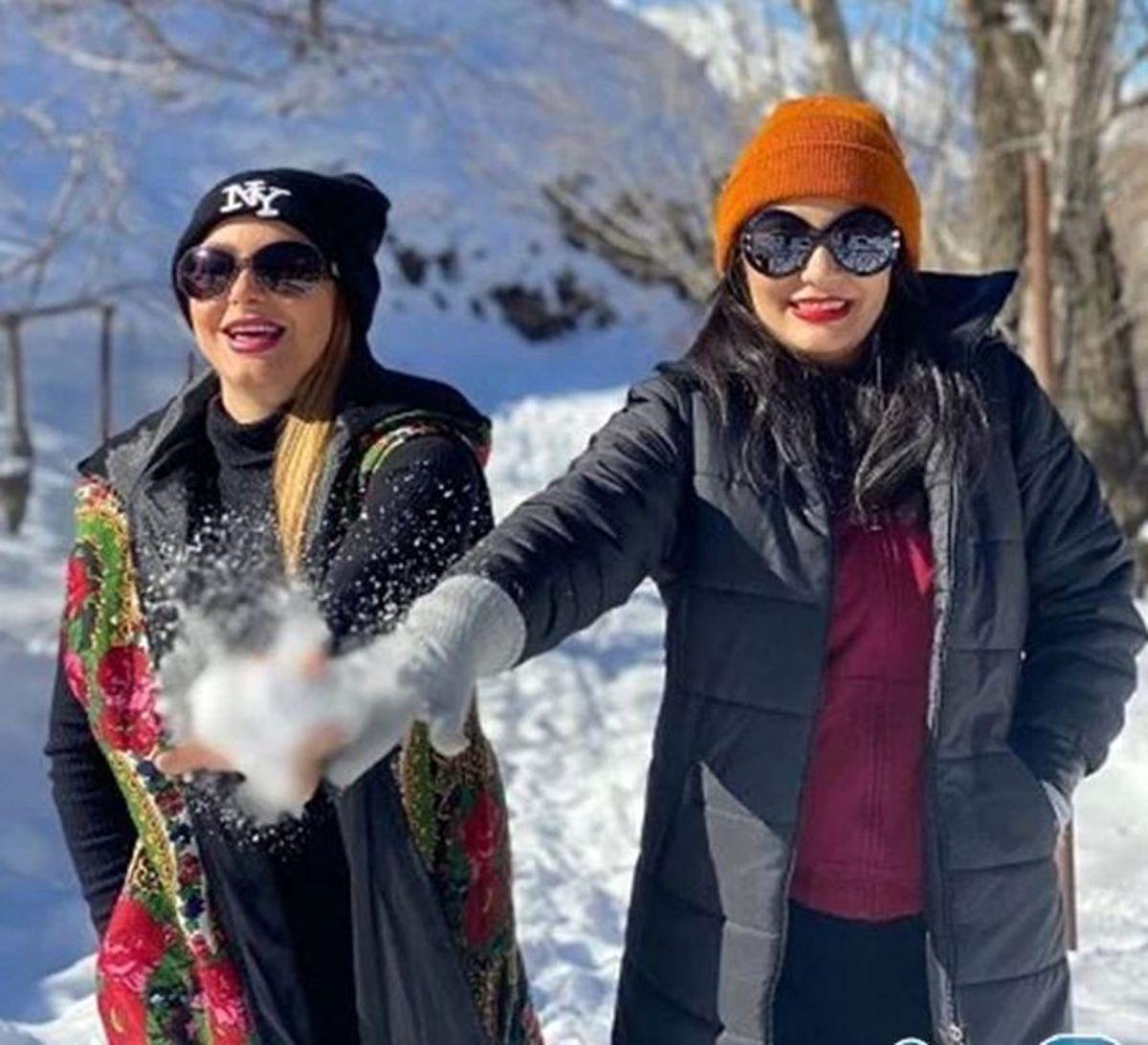 برفبازی و تیپ زمستانی لیندا کیانی + عکس