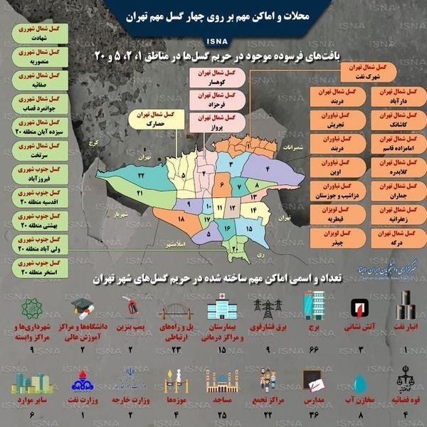 اینفوگرافی| اماکن و محلاتی از تهران که بر روی گسلها قرار دارند
