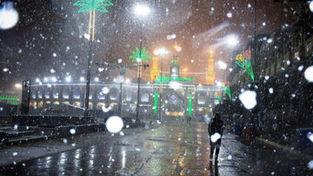 تصاویر برف کم سابقه در کربلای معلی