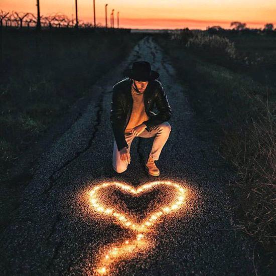 عکس پروفایل پسرانه عاشقانه؛ قلب و آتش
