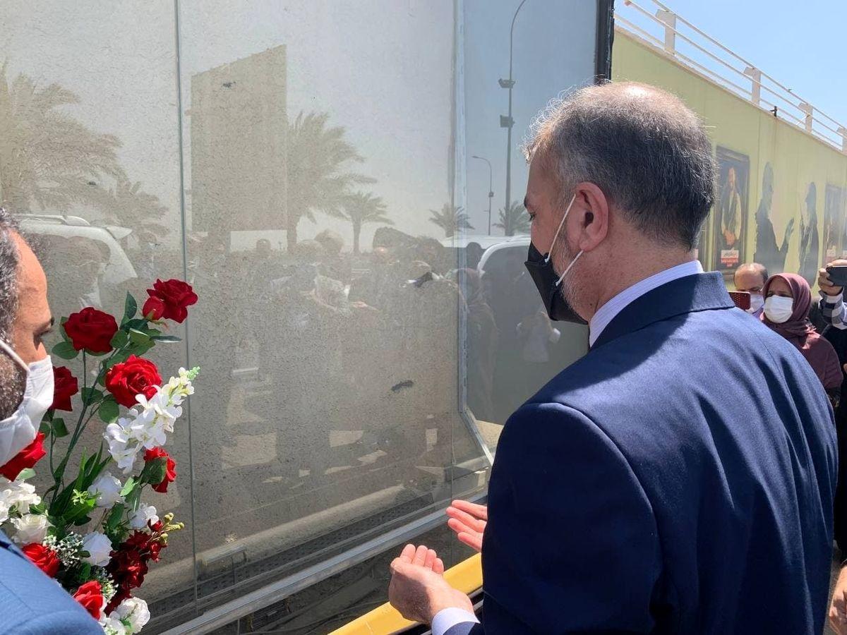 حضور وزیر خارجه در یادمان شهادت سردار سلیمانی و ابومهدی